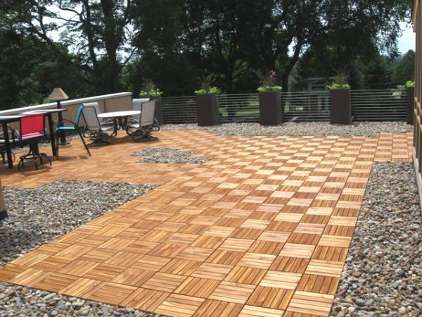 natural durable teak deck tiles